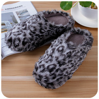 Wood high quality women's leopard print plush thickening thermal bag long at home slippers