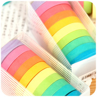 Wood high quality Small candy color paper tape fresh shredded multicolour tape 10 roll boxed