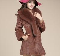 2013 Autumn and Winter Women's Genuine Rabbit Fur Coat Fox Fur Collar Female Slim Outerwear Free Shipping VK1208