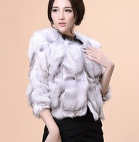 2013 Women's Genuine Fox Fur Jacket Autumn Female Short Outerwear Free Shipping VK1204