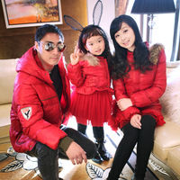 Fashion autumn family winter 2013 red male female child wadded jacket thickening family set clothes for mother and daughter