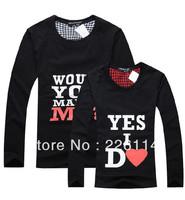 Free Shipping 2013 New korean couples dress  T-shirt men & women lovers autumn Yes I Do lovers long-sleeve T-shirt