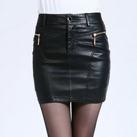 2013 autumn new arrival slim high quality PU women skirts black M, L, XL, XXL, XXXL, 4XL Free shipping