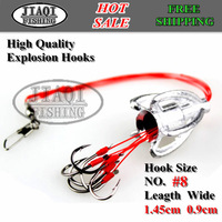 Free shipping!10PCS/5 boxes/LOT, prevent off hooks fishing sabiki,explosion hooks, hook size #8(1.45cm,0.9cm),E-hook-D01