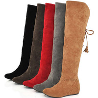 Fashion Russia Boots Women's Over-the-Knee Boots Flock Rubber Flats Platform  Hidden Increasing Height Jackboots
