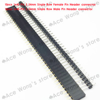 FREE SHIPPING 20PCS 2.54mm 1X40 40Pin  Single Row Straight Male & Female Pin Header ROHS Good quality