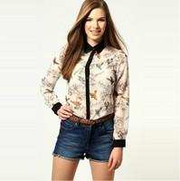 2013 fashion  women  full sleeve chiffon  blouses with bird printed  free shpping