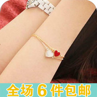 Fashion accessories vintage enamel four leaf clover bracelet love small peach heart bracelet