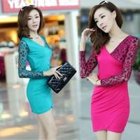 2013 autumn V-neck slim lace skirt slim hip basic skirt plus size women's bag skirt autumn one-piece dress