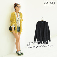 Kngs autumn female wind solid color oversize all-match no button cardigan big sweater outerwear