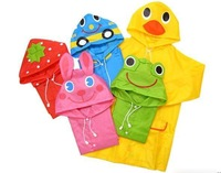 Children cartoon poncho,kids animal model raincoat,polyester cute cartoon raincoat with bag free ship mix colors 5pcs/Lot HG154