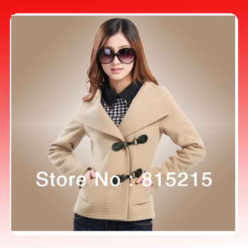NRH8062  Free Shipping  New 2013 Women Autumn Short Paragraph Thick  Slim Turn Down Collar  Woolen Jacket
