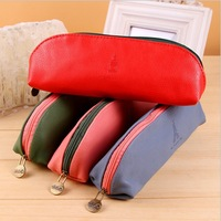 8548 Free Shipping 2013 New Fashion Leather True 4 Colors Pen Bag,Stationery Products/Wholesale, Korean School Supplies