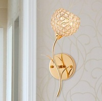 Luxurious crystal led wall lamps 85-265v E14 3w led wall lights gold color good looking bedroom lightings indoor lamps