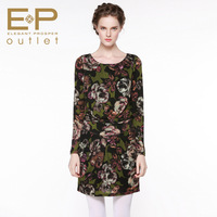 8.22ep 2013 o-neck print long-sleeve e12ic4016a elegant one-piece dress