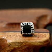 Man military wind personality male square titanium stud earring single vintage royal
