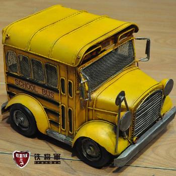 Bus model school bus metal vintage cars model decoration boys birthday gift