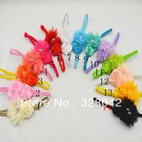 Trail order pearl tulle flower headband satin rose flower on thin elastic headbands hair accessories 50pcs/lot