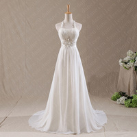 Daneileen Freeshipping! WR8883 A Line Plus Size Grecian Style Ivory Chiffon Bling Halter Top Beach Wedding dresses