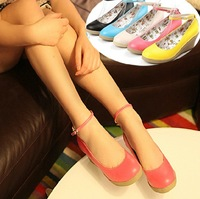 2013 single shoes candy color cute shoes button belt female shoes wedges platform shoes