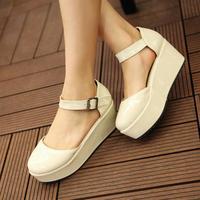 Wedges sandals female shoes high-heeled shoes platform flat belt buckle