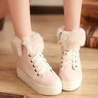 Winter new arrival sweet gentlewomen platform boots snow boots medium hells shoes wedges fur boots female