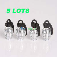 2pcs/set 2set/lot Tyre Valve stems Aluminum Alloy 4 Metal Grenade Design Car Motorcycle Bike SILVER free shipping