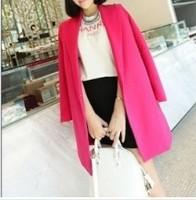 2013 European Style Hidden Button Pure Long Coat Rose/Orange/black (With Size) CS13081906