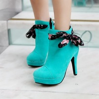 Autumn and winter sweet bow ribbon side zipper boots with a single platform boots martin boots thin heels ultra high heels