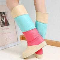 2013 autumn and winter boots snow boots high-leg women's boots flat heel flat platform color block decoration female shoes