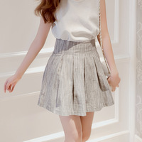 2013 autumn elastic high waist bust skirt pleated skirt puff skirt vintage short skirt female plus size