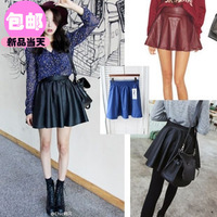 2013 autumn women's PU expansion skirt fluffy short skirt basic pleated skirt bust skirt leather skirt n17