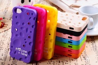 2013 New 3D [Mouse&Chese] Cheese Style Soft Silicone Rubber Mickey Back Cover Case For iphone 5 5G With Winder Free Shipping