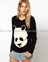 2013 Women Cartoon panda Knitted Blouse Sweater Woman's Cardigan long sweater Woman's hoody Z034