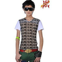 punk rock dance jazz hiphop Costumes Men's Non-mainstream Men's short-sleeved T-shirt stage singer  v78