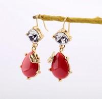 Fashion jewelry new style red gem drop women earrings, 10pcs/lot