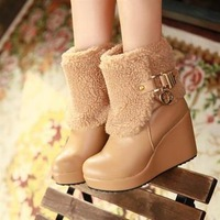 Autumn and winter martin boots wedge boots platform high-heeled platform boots women's spring and autumn single boots