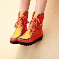 Female shoes 2013 color block decoration sweet round toe lacing martin boots platform flat heel snow boots thermal