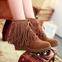 Female shoes sweet gentlewomen 2013 nubuck leather lacing tassel boots high-heeled shoes wedges single boots female