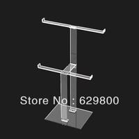 clear acrylic jewelry display shelf,simpleness 2 shelves acrylic display rack