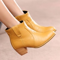 Female shoes 2013 color block decoration sweet round toe martin boots plain women's thick heel boots single boots