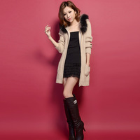 2013 women's fashion solid color plus size raccoon fur with a hood medium-long slim wool overcoat plus size