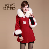 Slim woolen outerwear female medium-long female wool coat outerwear autumn and winter 2013
