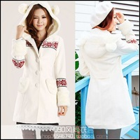 2013 women's bear ears stereo sweet slim thickening trench double faced wool coat