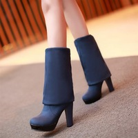 Female shoes 2013 fashion sexy thick platform heel shoes high-heeled shoes nubuck leather boots over-the-knee boots