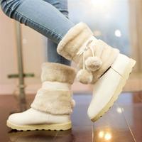 Female shoes 2013 sweet fashion platform nubuck leather snow boots thermal low-heeled shoes flat heel boots medium-leg