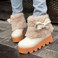 2013 autumn and winter scrub women's bow platform boots snow boots flat boots flat heel