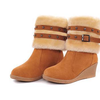 Female shoes 2013 fashion buckle nubuck leather round toe high-heeled boots wedges medium-leg women's winter boots