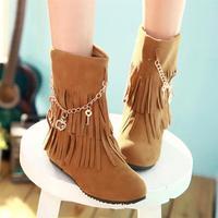 Female shoes 2013 fashion metal chain tassel boots flat heel flat women's nubuck leather boots winter boots