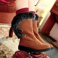 Female shoes 2013 luxury fashion rabbit fur water thermal snow boots round toe medium-leg boots winter boots